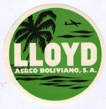 Airline luggage labe  Lloyd Bolivia   #914